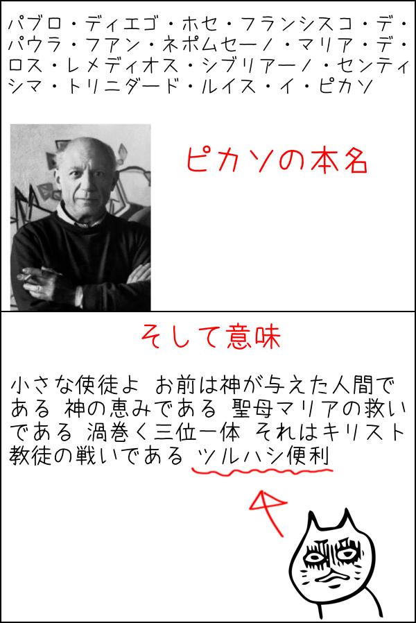 ピカソの本名を日本語に訳すと意味不明な単語があるw